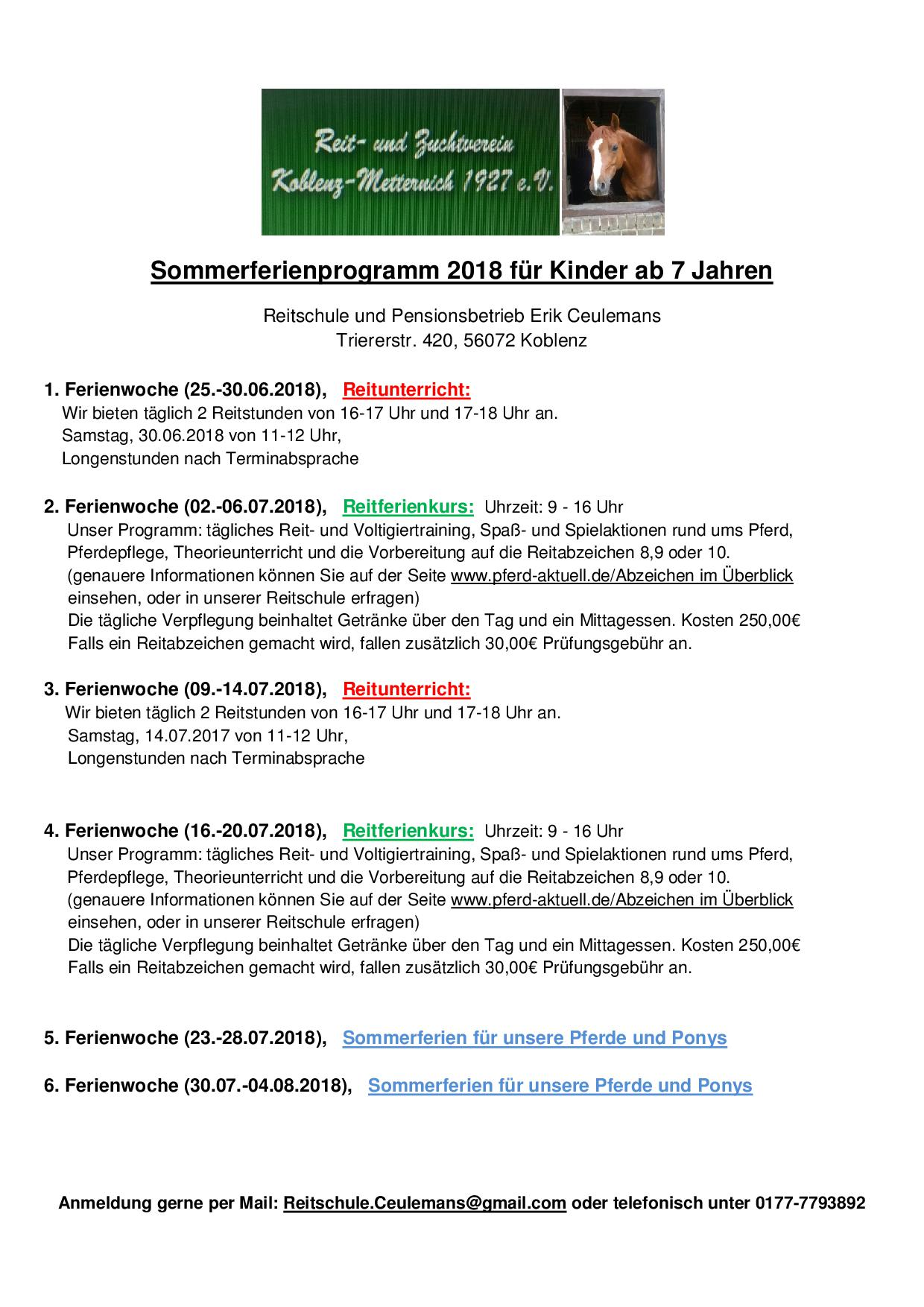 Sommerferienprogramm der Reitschule Erik Ceulemans
